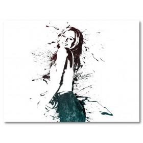 Αφίσα (μαύρο, λευκό, άσπρο, κορίτσι, βουτιά)